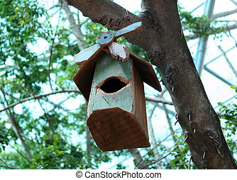 Bird house hanging from the tree with the entrance hole