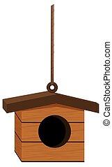 Bird house hanging on rope