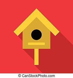 Bird house icon, flat style
