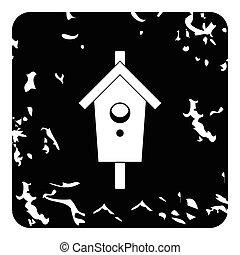 Bird house icon, grunge style