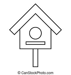 Bird house icon, outline style