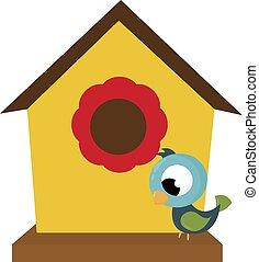 Bird house, illustration, vector on white background.