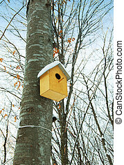 Bird house on the tree in winter