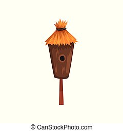 Bird house with a thatched roof, nesting box cartoon vector...