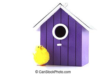 Bird house with bird on a white background.
