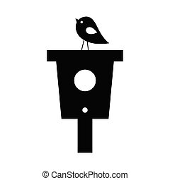 Bird houses with a bird on top of it black vector silhouette isolated