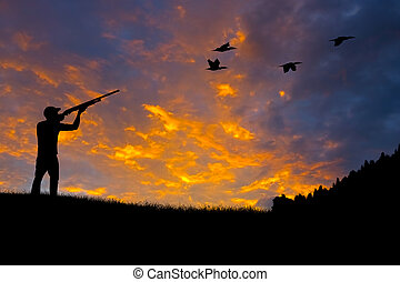 Bird Hunting Silhouette - Silhouette of a hunter aiming at...