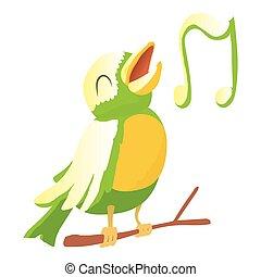 Bird icon, cartoon style