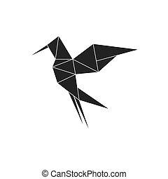 Bird icon. Origami design. Vector graphic