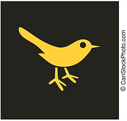 Bird icon. Silhouette isolated on black background. Vector flat hand drawn illustration