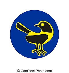 Bird icon. Silhouette isolated on blue circle background. Vector flat hand drawn illustration