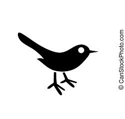 Bird icon. Silhouette isolated on white background. Vector flat hand drawn illustration