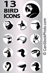 bird icons collection - bird icon collection. Vector in...