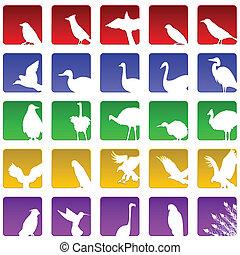 bird icons - Set of twenty five icons for various bird...