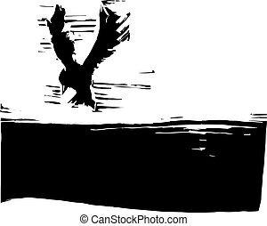 Bird flying in the sky with dark ground.