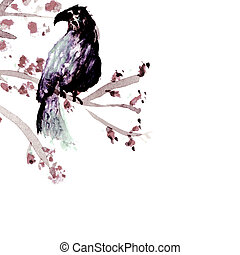 Bird in a tender tree - watercolor by me