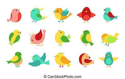 Bird in different pose cartoon set cute vector