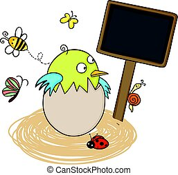Bird in egg nest with blank wood sign
