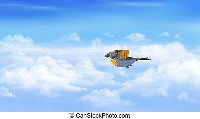 Bird in Flight. Side View - Little bird flies in the clouds....