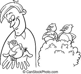 bird in the hand coloring book - Black and White Cartoon...