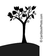 Bird in tree silhouette