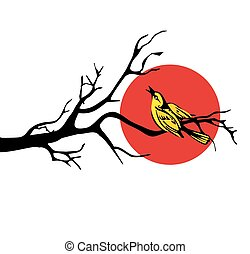 bird in various poses sitting on a branch. Vector flat illustration