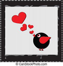 Bird is singing and melody is hearts, valentine day concept, love