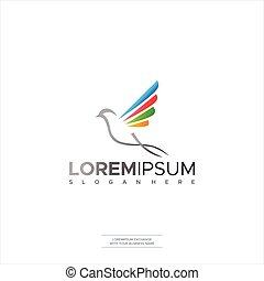 bird leaf logo vector icon template download line art outline Design