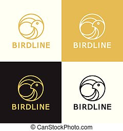 Bird line vector logo template