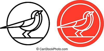 Bird logo, badge or emblem. Mono-line vector illustration of bird in circle.