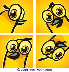 Bird look. Vector color flat illustration. Isolated on color background