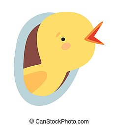 Bird Looked Out From Tree Hollow Vector Illustration