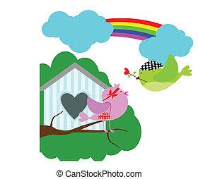 bird love with sweet home