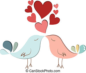 Two cute bird lovers on pink hearts shaped