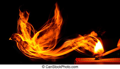 Bird made of fire comes from a burning matchstick