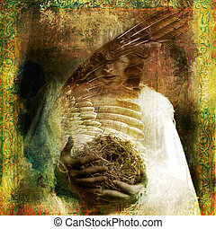 Bird Madonna - Woman with nest. Photo based illustration.