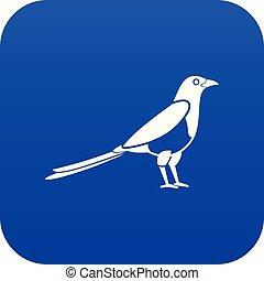 Bird magpie icon digital blue