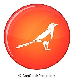 Bird magpie icon, flat style