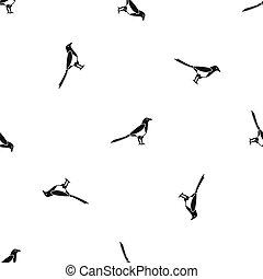 Bird magpie pattern seamless black