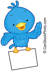 Bird Message - A Little Blue Bird Flying While Clutching a...