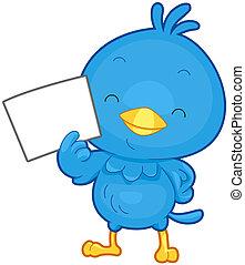 Bird Message - A Little Blue Bird Holding a Blank Piece of...