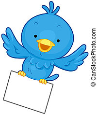Bird Message - A Little Blue Bird Flying While Clutching a...
