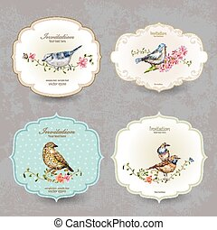 bird., mignon, collection, étiquette, aquarelle, retro, peinture