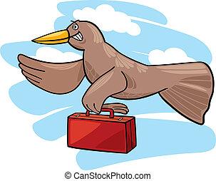 Bird migration - Illustration of flying bird migrating...