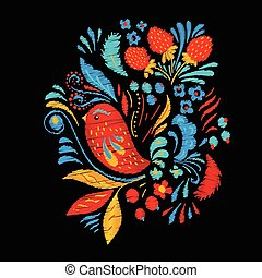 bird., moda, trascinare, berrias, luminoso, fiori, borsa, ...