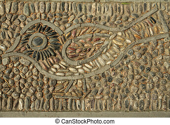bird motif made of pebbles on pathway in garden of Summer Palace