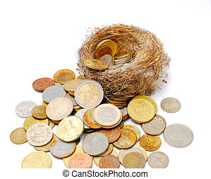 bird nest and old and new coins on white background