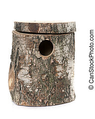 bird nest box in front of white background