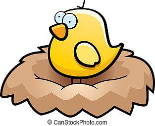 Bird Nest - A cartoon little yellow bird in a nest.