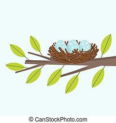 Bird nest on the tree branch. Vector illustration